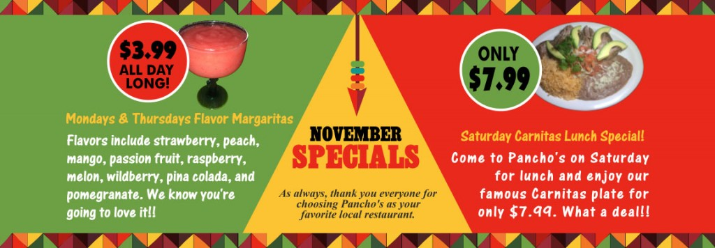 Pancho's Mexican Restaurant Food Specials